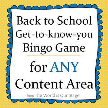 Fun First Day Classmate Bingo Game Activity for Back to School Any Content Area