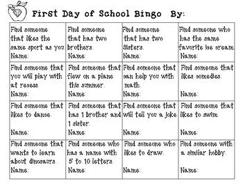 Fun First Day of School Bingo