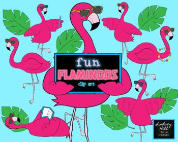Fun Flamingos Clip Art Set