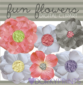 Fun Flowers Digital Clip Art Images