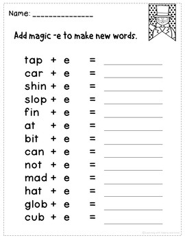 Fun Fold and Learn Magic Silent e plus Worksheets NO PREP