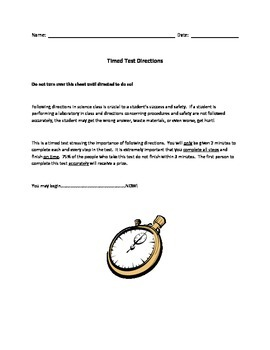 Fun Following Directions Activity - A Timed Test