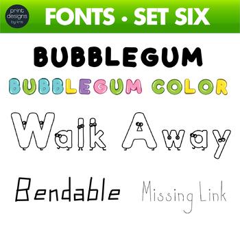 Fun Fonts - Handwriting Fonts - Color Fonts - SET SIX