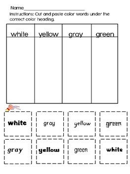 Kindergarten - Letters, Number, Colors - Match and Sort