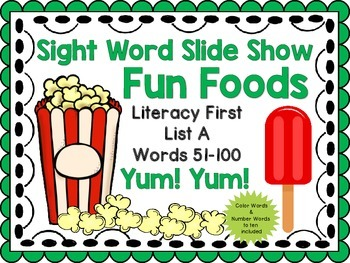 Sight Word Slide Show, Literacy First List A Words 51-100,