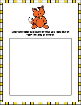 Fun Fox Back to School / First Day of School Work Packet