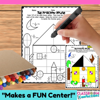 Fractions Worksheet: Fun Fraction House