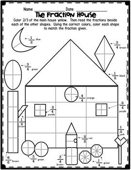 fractions worksheet fraction house by elementary lesson plans tpt. Black Bedroom Furniture Sets. Home Design Ideas