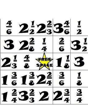 Fun Fractions Bingo