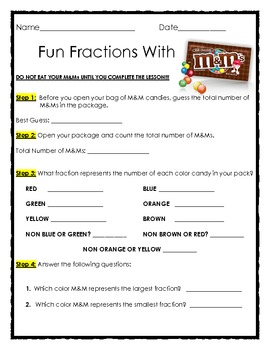 Fun Fractions with M&Ms by The Teacher Treasury | Teachers Pay ...