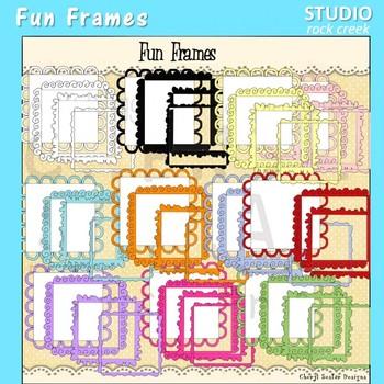 Fun Frames or Labels .. Shape to fit.. Color clip art C Seslar