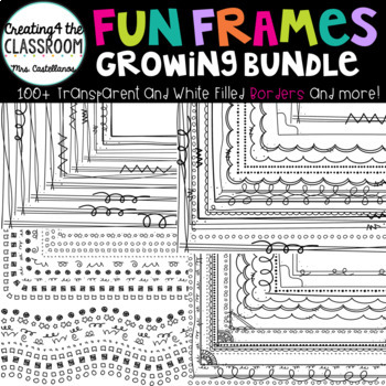 Fun Frames Growing Bundle 100+ Transparent and White Filled Borders