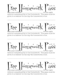 Fun Free Homework Passes