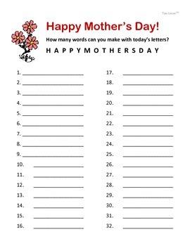 Fun Free Mother's Day Worksheet