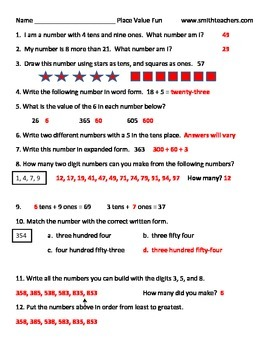 Fun Free Place Value Challenge