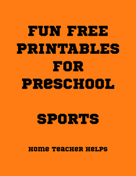 Fun Free Printables for Preschool SPORTS