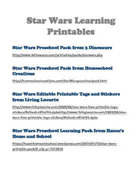 Fun Free Printables for Preschool Space and Star Wars