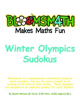 Fun Free Winter Olympic Sudokus for K, 1, 2, 3, 4, 5, and 6.
