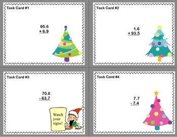Fun Freebie-Grade 5 -Task Cards Add and Subtract Decimals to the Hundredths