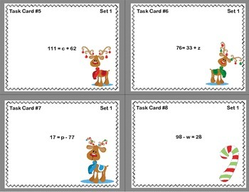 Fun Freebie-Grade 6  Solving Equations Using All Four Operations-Christmas Theme