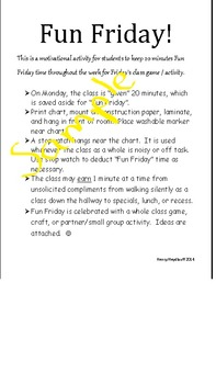 Fun Friday Classroom Incentive