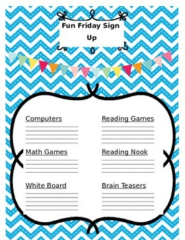 Fun Friday Sign Up Sheet (Editable)