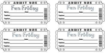 Fun Friday Tickets (Editable on Microsoft Word)