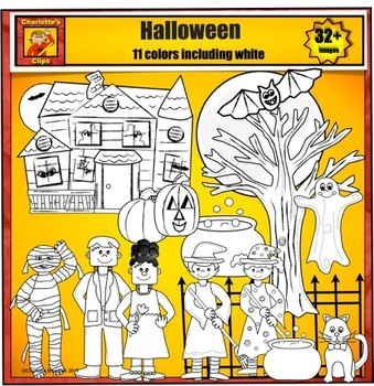 Halloween Clip Art - Friendly Characters and Haunted House by Charlotte's Clips