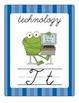 Fun Frog Alphabet Line (Cursive)- Blue