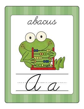 Fun Frog Alphabet Line (Cursive)- Green