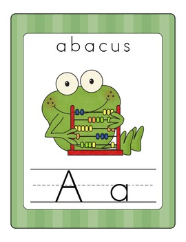 Fun Frog Alphabet Line (Traditional Print)- Green