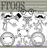 Fun Frog Black Line Clip Art