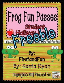Fun Frog Hallway Pass Freebie