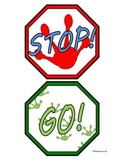 Fun Frog Prints Stop and Go Classroom Bathroom Door Hanger Sign Mini Visuals