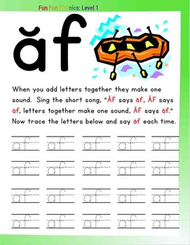 #6 Fun Fun Phonics (16 phonics pages) (Letter Ff and Digraphs 'af' and 'fa')