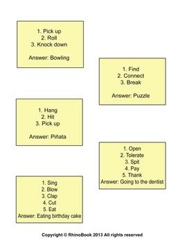 Fun Game (Ice Breaker): Verb + Verb = Activity!
