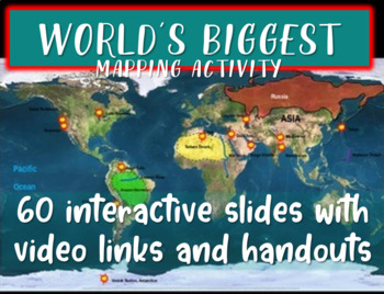 Fun Geography: World's Biggest... (60-slide PPT with video links & map handout)