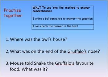 Fun Gruffalo Reading Comprehension