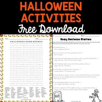 FREE Halloween Activities for Middle School
