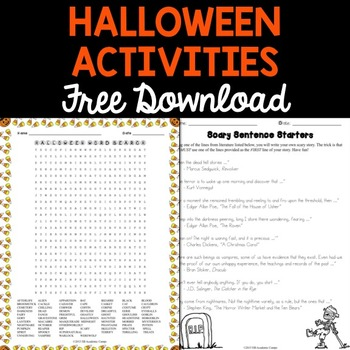 FREE Halloween Activities for Middle School