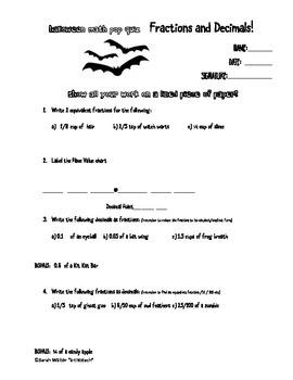 Fun Halloween Math Quiz Fractions and Decimals Elementary
