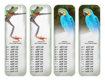 Fun Handy Spanish Accent Reference Bookmarks