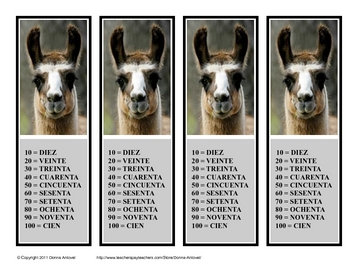 Fun Handy Spanish Numbers Reference Bookmarks