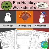 Fun Holiday Worksheets NO PREP BUNDLE
