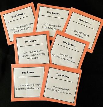 Homeroom, Advisory, Icebreaker or Character Education Group Activity Card Set