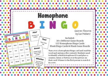Fun Homophone Bingo with 132 Homophone Words & Sentence Examples