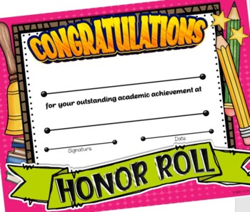 Fun Honor Roll Certificates