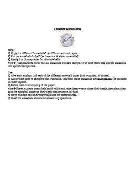 Fun Ice Breaker Activity - Snowball (first day of school activity)