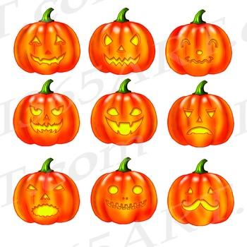 Fun Jack o' Lantern Clipart Pack, Halloween Clip Art, Party Invitations