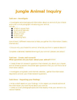 Fun Jungle animal research task
